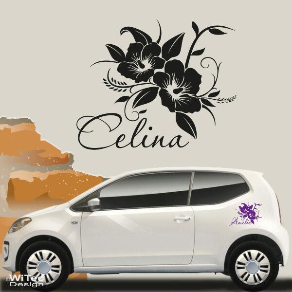 2 Set Sterne Hibiskus Blumen Auto Aufkleber Wandtattoo