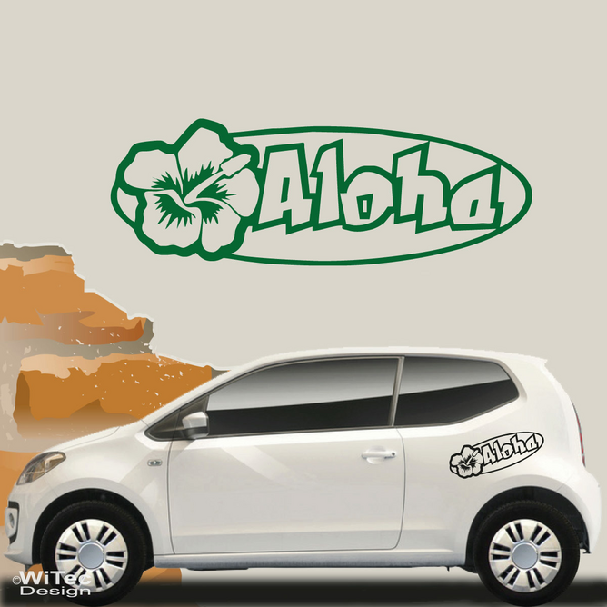 AN076 Aloha Hibiskus Hawaii Aufkleber Sticker Auto