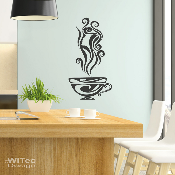 WN207 Wandaufkleber KAFFEE Frau Wandtattoo Küche