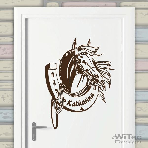 Turaufkleber Pferd Hufeisen Name Wandtattoo Madchen