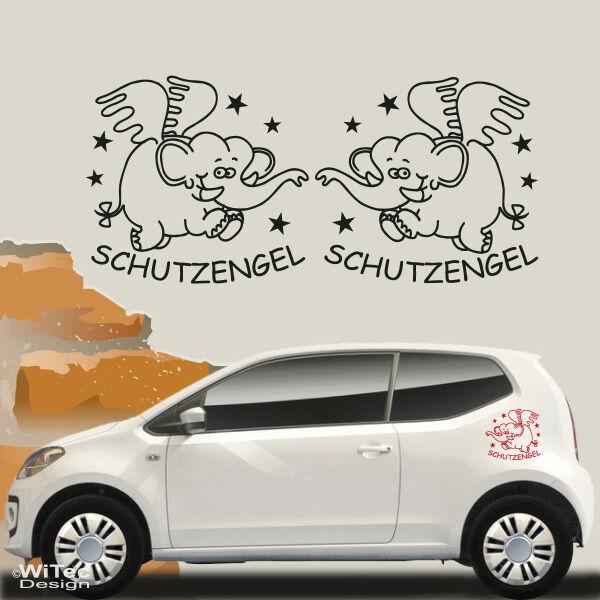 Auto Aufkleber Schutzengel Elefant 2er Set Autoaufkleber