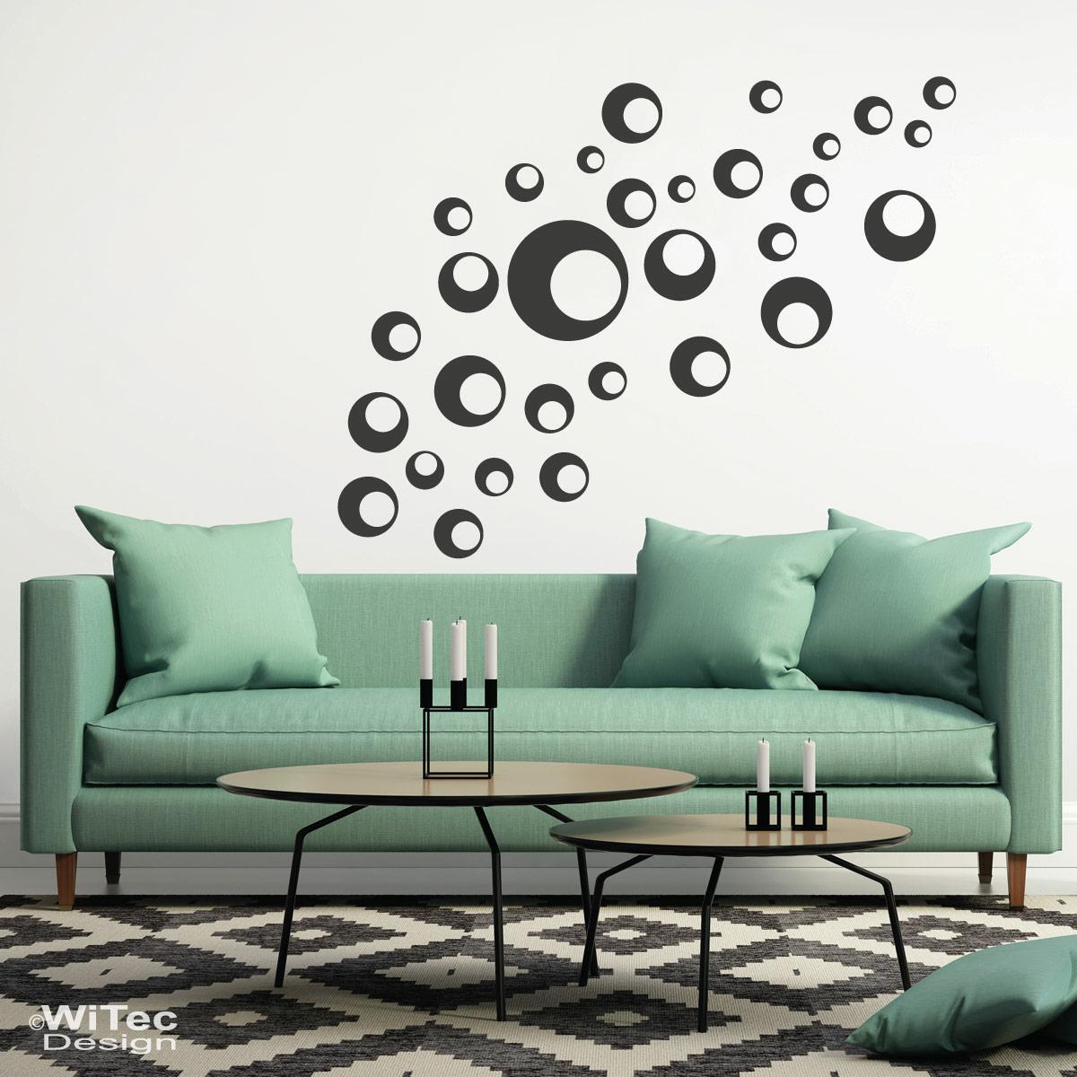 retro dots wandtattoo kreise retro wandsticker aufkleber. Black Bedroom Furniture Sets. Home Design Ideas