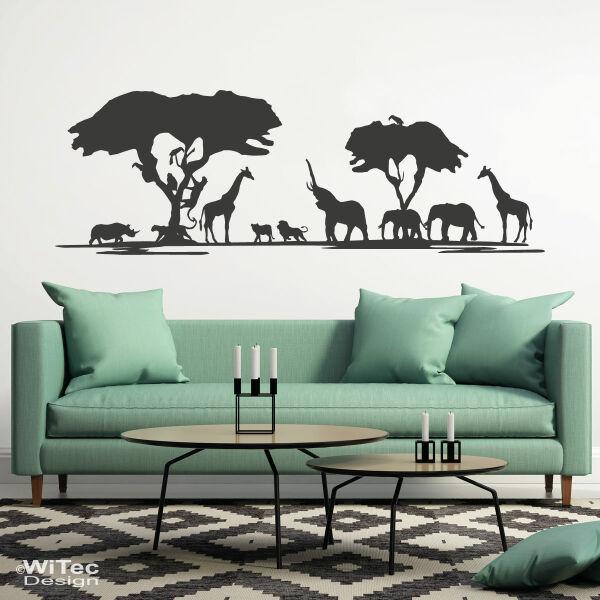 Wandtattoo afrika safari wandaufkleber giraffe l we elefant for Wandtattoo afrika