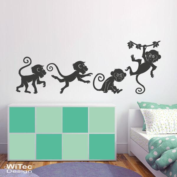 Wandtattoo Affe Wandaufkleber Affen Set Kinderzimmer