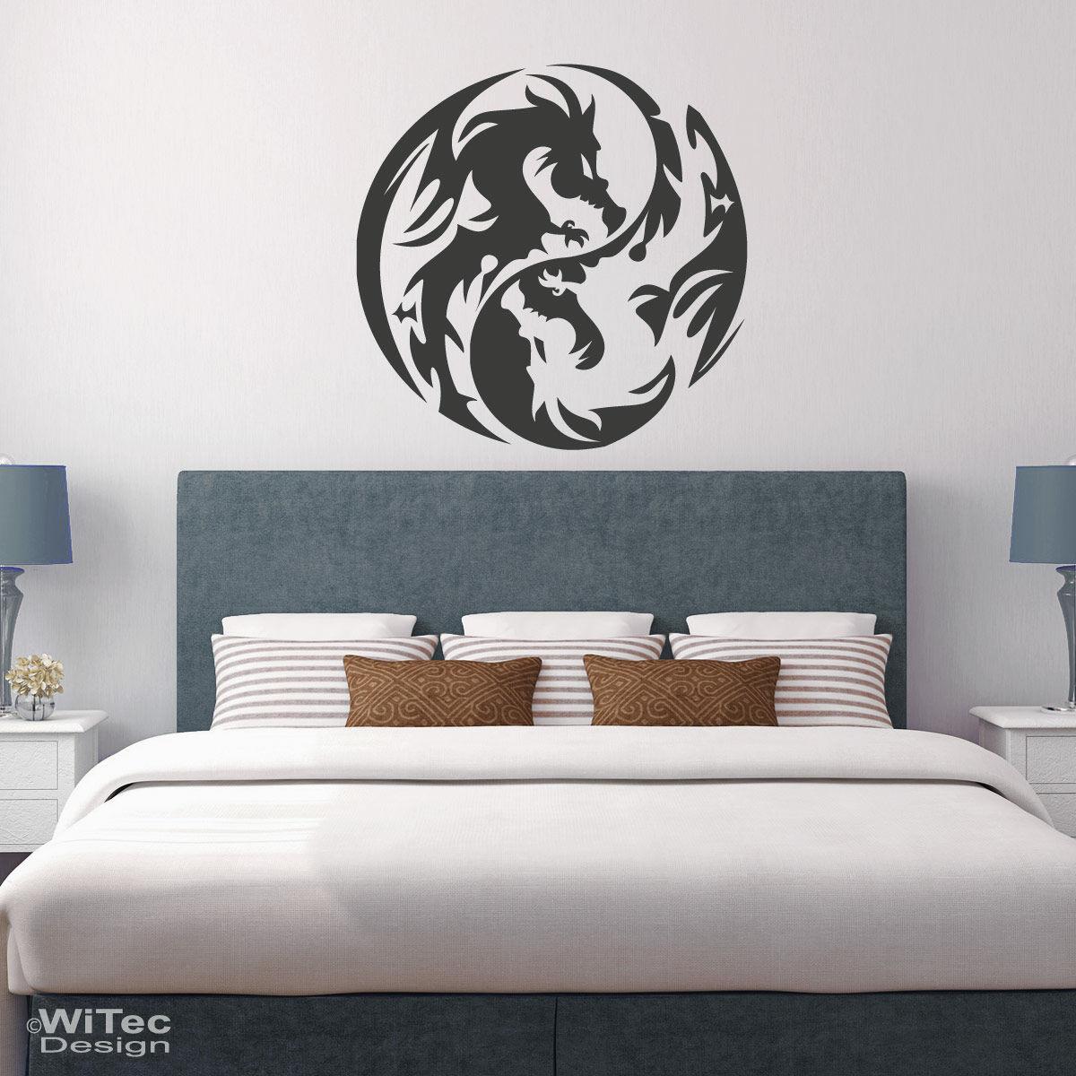 wandtattoo drache yin yang dragon wandaufkleber. Black Bedroom Furniture Sets. Home Design Ideas