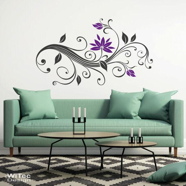 wandtattoo blumenranke blumen aufkleber. Black Bedroom Furniture Sets. Home Design Ideas