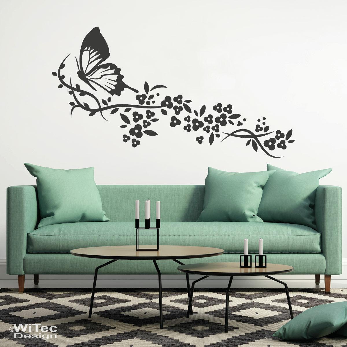 wandtattoo blumenranke schmetterling wandaufkleber. Black Bedroom Furniture Sets. Home Design Ideas